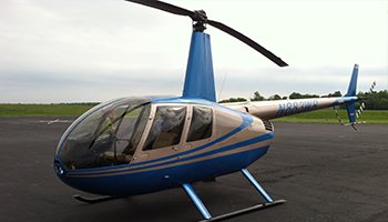 R44 Helicopter - Silver and Blue